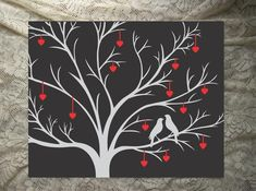 """16"""" x 20"""" Canvas Wall Art - Choose your colors and background! Romantic love birds with hearts makes a wonderful wedding, Valentine's Day or Anniversary Gift."""