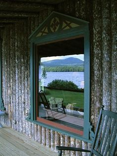 The Hedges on Blue Mountain Lake; window reflection; Gardenista