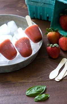 Strawberry and Basil Popsicles