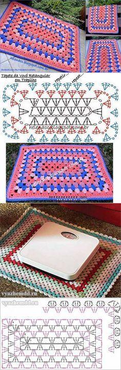 El tapiz pequeño rectangular según el principio del cuadrado de abuela | Iskusnitsa