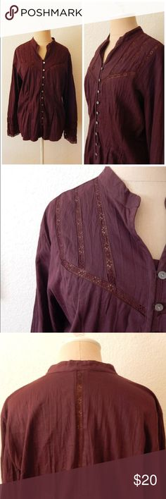 """J Jill Purple Lace Peek a Boo Sheer Peasant Blouse Button Up Crinkle Style Made in China Button Sleeve 55% Cotton 41% Nylon 4% Spandex Machine wash line dry                                              Tag Size Medium  Bust circumference: 42"""" Waist circumference: 38"""" Hem circumference: 42"""" Length: 25.5"""" Sleeve length from underarm seam: 17"""" J. Jill Tops Button Down Shirts"""