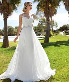 2016 uma linha de lantejoulas Halter mangas Ruffles backless vestidos de casamento vestido de casamento de praia vestido de noiva