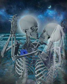 Bride and groom skulls
