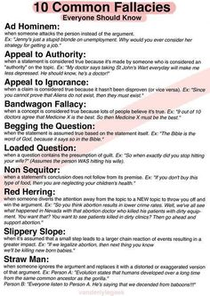 Logical fallacies: recognize them in speeches, articles, or conversation to help you counter arguments.