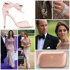 Updated outfit details; Catherine is recycling the glittering @jennypackham gown she originally worn to the ARK gala back in 2011, paired with the exact same shoes, her @lkbennettlondon 'Agata' now pumps. Her jewelry consists of a loan pair of diamond chandelier earrings from HM, and a loaned bracelet as well from the Queen Mothers collection. Catherine is carrying a pink satin @prada clutch, which she also carried in 2011. As we can see, Kate applied a little heavier of a line of eyeliner…