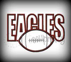 Football Applique | Eagles Football Embroidery Applique Design
