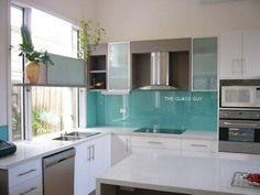 The Glass Guy - Light blue glass splashback with white kitchen
