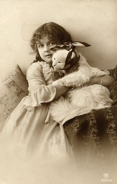 Victorian child with cat
