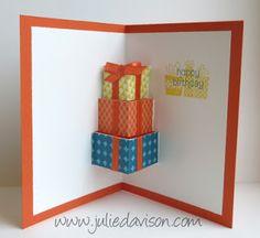 VIDEO tutorial for Pop-Up Presents Birthday Card #birthday #popup #tutorial #stampinup #juliedavison