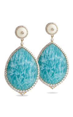 amazonite pear shaped earrings feature a diamond trim  Stud backing for pierced ears