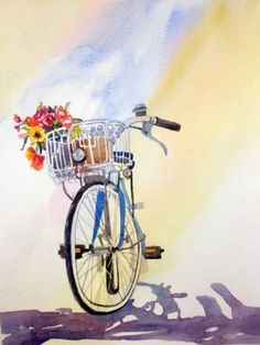 Bike Shadows, painting by artist Kay Smith
