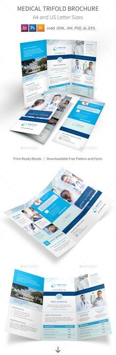 Medical Trifold Brochure Template PSD, Vector EPS, InDesign INDD, AI Illustrator. Download here: https://graphicriver.net/item/medical-trifold-brochure-4/17623900?ref=ksioks