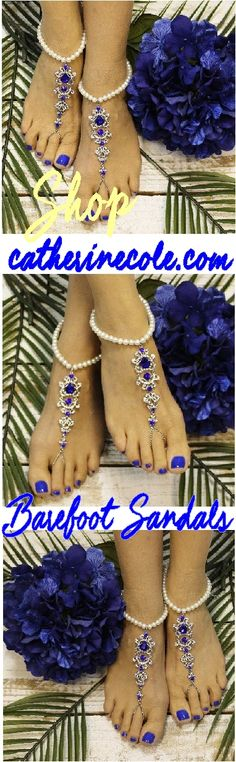 Find your perfect sapphire blue barefoot sandal here! Royal blue foot jewelry for style and budget, FREE USA SHIPPING