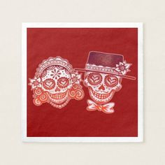 Shop Sugar Skulls Couple Paper Napkins for Wedding created by thaneeyamcardle. Cloth Napkins, Paper Napkins, Sugar Skull Design, Wedding Napkins, Sugar Skulls, Couple, Halloween, Candy Skulls, Paper Towels