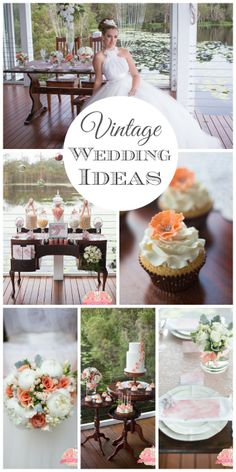 Vintage peach and white wedding ideas! See more party and wedding ideas at CatchMyParty.com. #vintage