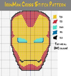 Iron Man cross stitch design created by Space-treking at deviantART