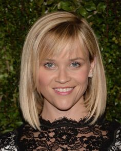 Reese Witherspoon Mid-Length Bob - Reese Witherspoon went for classic styling with this mid-length bob and wispy bangs when she attended Drew Barrymore's book release party.