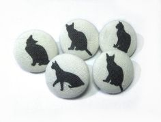 Only $5.00 Fabric buttons Black Cats Kitten covered bag by ReginaStitchery