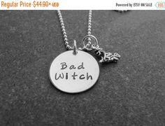 Bad Witch Necklace Witch Charm Hand Stamped by klacustomcreations