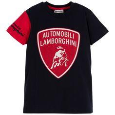 AUTOMOBILI LAMBORGHINI Boys Navy Blue with Red Logo T-shirt Bull Logo 802c68d8761