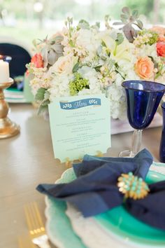 Eclectic Navy, Mint, and Peach Wedding Ideas: http://theeverylastdetail.com/eclectic-navy-mint-peach-wedding-ideas/