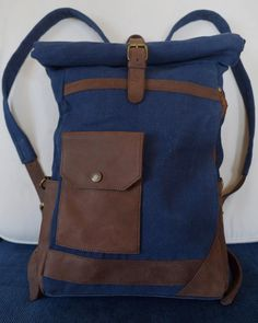 Canvas&Leather backpack with roll up / zaino in tela e di PiBuShop