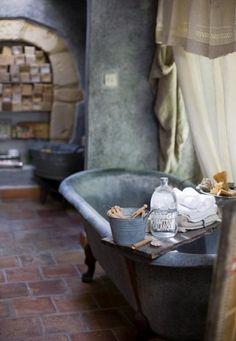Vintage Bathroom. Love this brick floor!