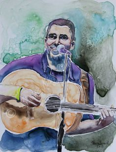 Custom Watercolor Portraits from a photo 9 x by PortraitsByShaina, $90.00, watercolor on YUPO paper   SOLD COMMISSION Eric, lead singer of L SHAPE LOT https://www.facebook.com/pages/Shaina-Kay-Stinard-Artist/146458275467854 www.shainastinardartist.com