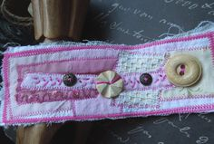 Pink Shabby Chic Textile Cuff with 2 Wooden 2 by dwhitecreations, $25.00