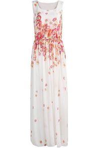 White Sleeveless Floral Pleated Chiffon Long Dress