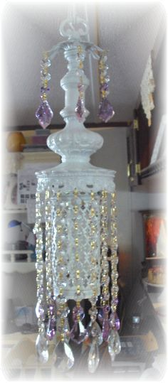 shabby and chic pendent chandelier, custom designed from vintage lamp parts by Darrell Mullins Vintage Chandelier, Vintage Lamps, Kerosene Heater, Shabby Chic Lamps, Chandeliers, Light Up, Custom Design, Diy Projects, Ceiling Lights
