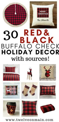 30 red and black buffalo plaid or buffalo check holiday decor!