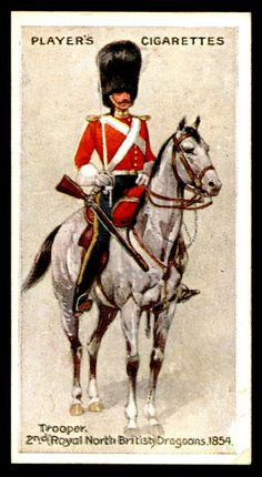 "#5 - 2nd Dragoons-Trooper, 1854 - Player's Cigarettes, ""Regimental Uniforms"" (series of 50 with Brown Backs issued in 1914) 