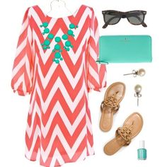 Peach pink and white chevron dress with mint accessories, shades, pearl studs and sandals