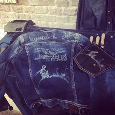 Customised denim jacket by Adriana Abenia in our #PepeJeansCustomStudio