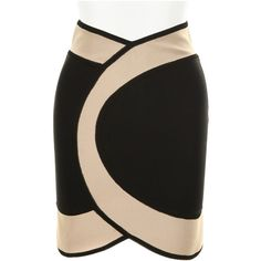 Mini skirt in a technic jersey blend of viscose, rayon, lycra and spandex. Graphic cutout on waistline. Concealed zipper at back. Since 1999, Hervé Léger has b…