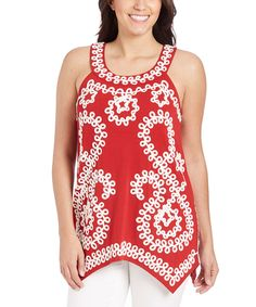 Another great find on #zulily! Red & White Embroidered Cleo Tank - Plus by Once Again Apparel #zulilyfinds