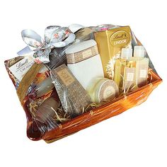 Honey & Vanilla Pamper Basket | Snippets Hampers Round Bath, Hampers, Bath Salts, Wooden Handles, Shower Gel, Truffles, Vanilla, Honey, Basket