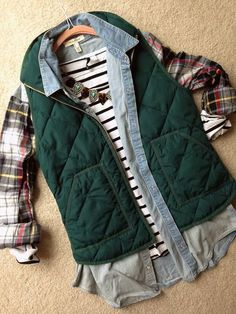 Fall color combo - hunter green vest, plaid and navy stripes! Statement necklace…