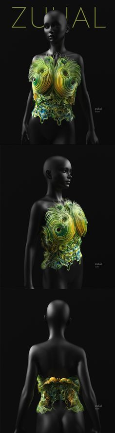 Neri Oxman The aim is to embed living matter within 3D structures that augment the environment. Each piece intends to hold life sustaining elements contained within 3D printed vascular structures with internal cavities.