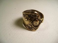 handmade spoon ring size 9-3/4 #215, Silverplate, Roses