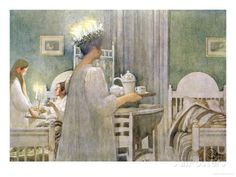 Santa Lucia~ Swedish traditions~ Carl Larsson painting-I did this every December 13 until I went away to college! Saint Lucy, Illustration, Museum Of Fine Arts, Artist, Painting, Scandinavia Design, Carl Larsson, Prints, Arts And Crafts Movement