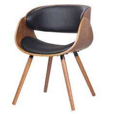 Cadeira Deise PU Preto Base Madeira.      - Cadeira de jantar em madeira álamo; - Assento e encosto estofados e revestidos em PU; - Pernas de madeira de faia.