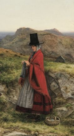 Woman Knitting in the Mts. of Snowdonia (in the traditional Welsh costume of red woolen cloak high black hat), William Dyce, 1860 / se. Saint David's Day, Knitting Humor, Knit Art, Snowdonia, Dream Art, Pictures Of People, Picture Captions, Religious Art, Celtic