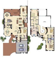 Luxury New Homes in Boca Raton New House Plans, Dream House Plans, Modern House Plans, Modern House Design, House Floor Plans, Mansion Plans, Pool House Designs, Casas The Sims 4, Home Design Floor Plans