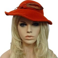 Womens Orange Wool Felt Hat Vintage 1940s Feather Great Tag  $30  https://www.rubylane.com/item/676693-AC16-88/Womens-Orange-Wool-Felt-Hat-Vintage?search=1