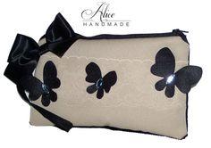 Borsa POCHETTE beige nera FARFALLE butterflies HANDBAG clutch bag SAC handtasche