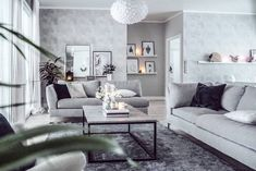 Condo Living Room, House Rooms, Living Room Decor, Cool Tones, Couch, Inspiration, Furniture, Home Decor, Bags