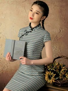 Blue Short Floral Qipao / Cheongsam Dress with Butterfly Pattern