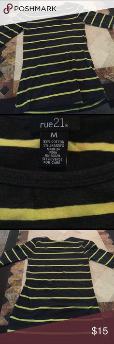 Grey, yellow stripes, 3 quarter length sleeves Grey shirt with yellow stripes Rue 21 Tops Tees - Long Sleeve